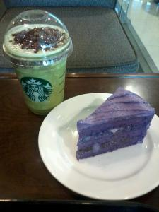 Don't adjust your monitor...yes that cake is purple! And yes, the green drink has red beans! And yes, they are amazing!