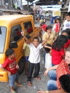 """Santa's Yellow Sleigh"" arriving at the church"