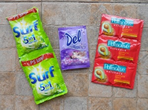 Cleaning supplies, each packet costs just pennies